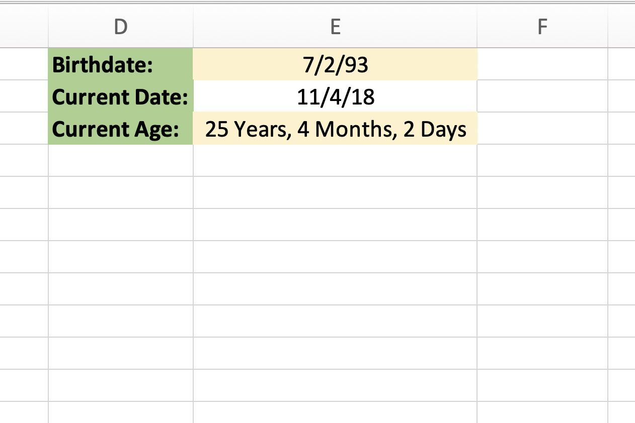 How to Calculate Your Age With Excel's DATEDIF Function