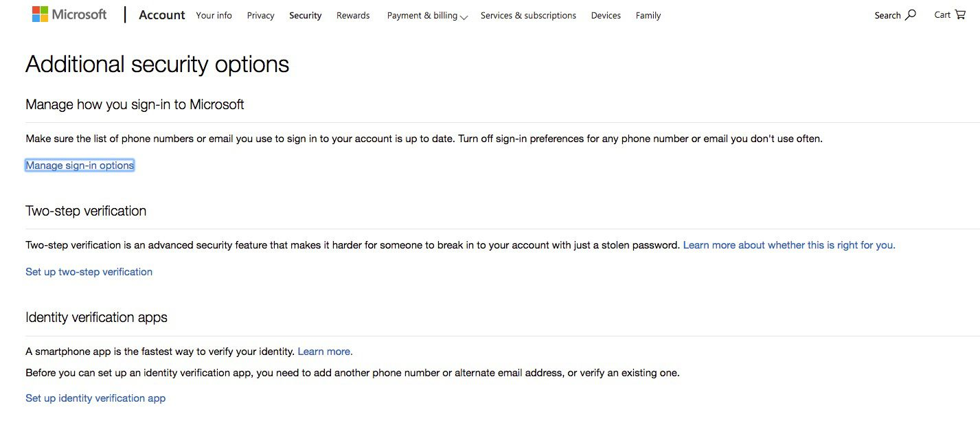 Screenshot of setting up two-step verification in Outlook.com