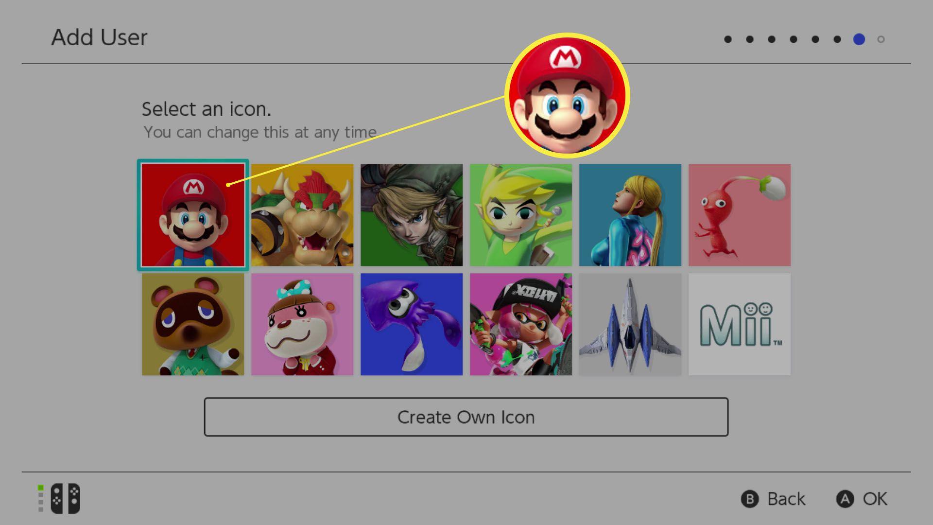 Nintendo Switch setup Add User screen