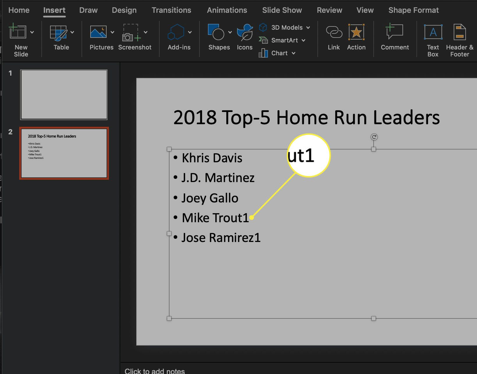 the Insert ribbon in PowerPoint for macOS