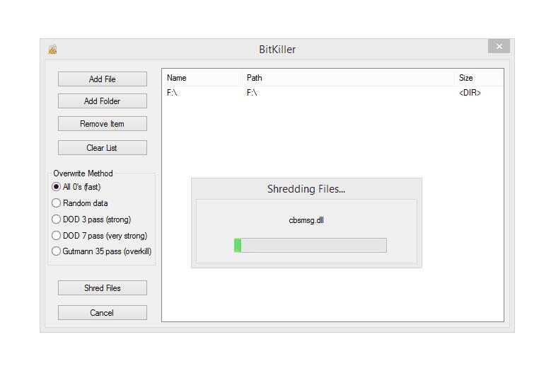BitKiller shredding files