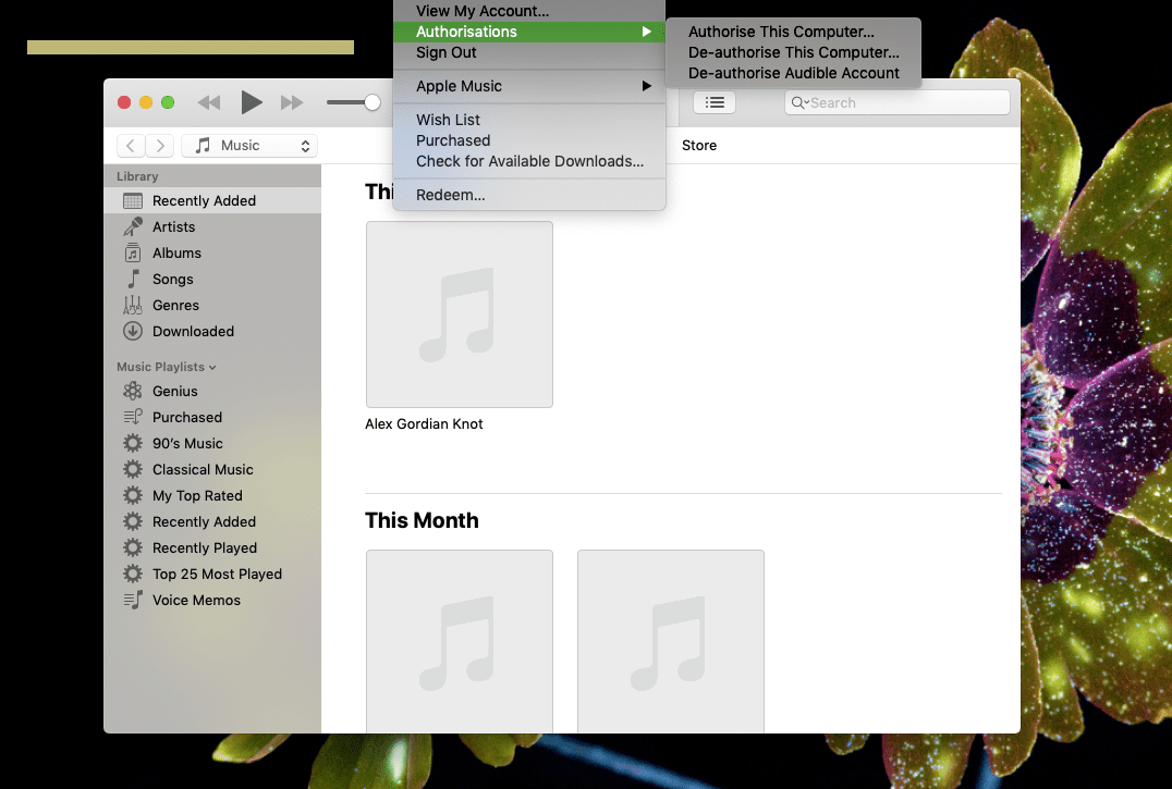 A screenshot showing how to de-authorize a Mac from its iTunes account