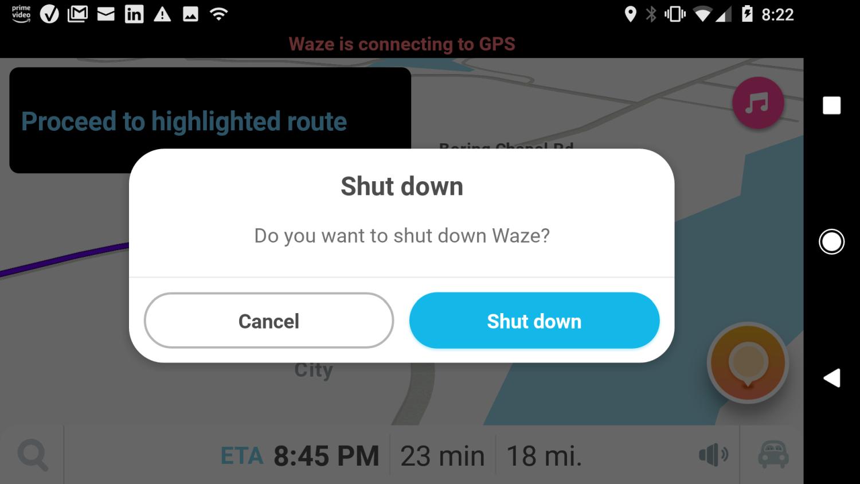 Screenshot of exiting navigation on Waze