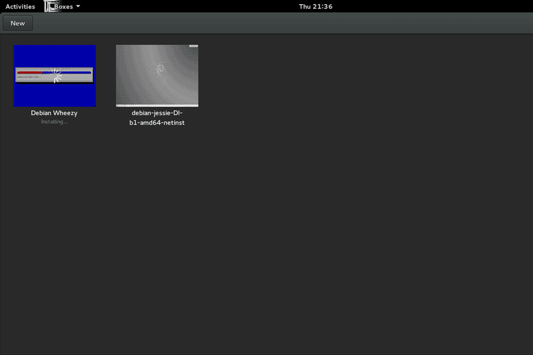 Starting GNOME Boxes screenshot