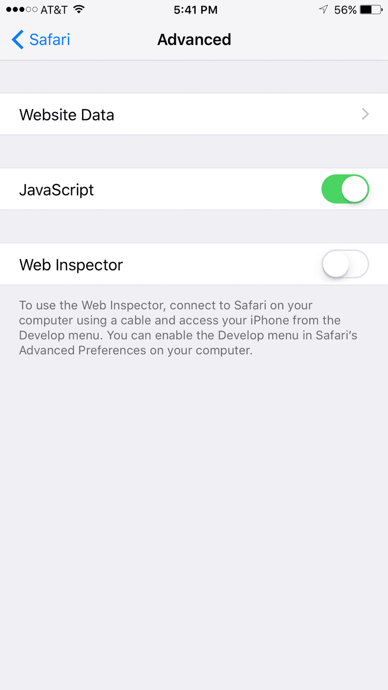 Javascript settings on iphone