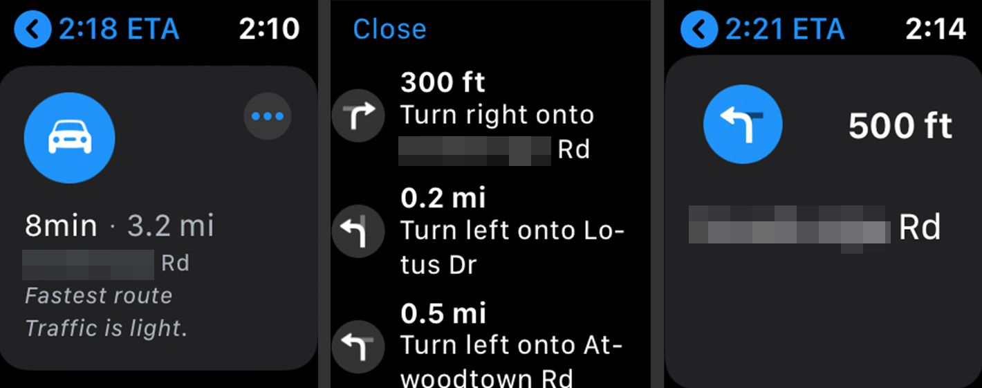 Turn by turn directions on Apple Watch Maps app