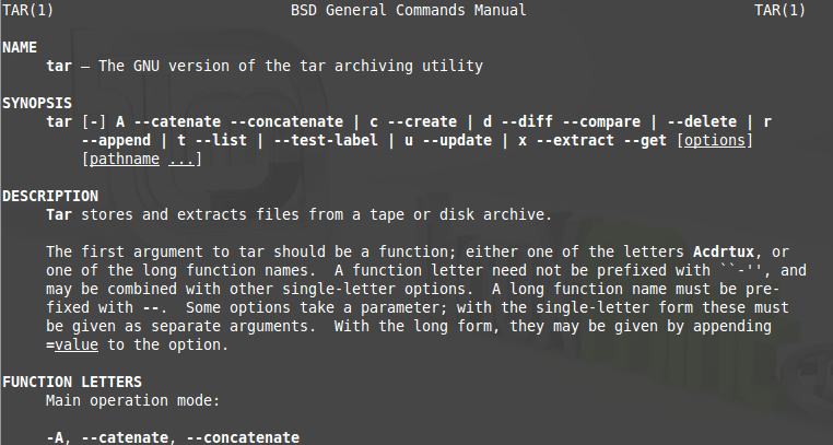 "Example uses of the Linux Command ""tar"""