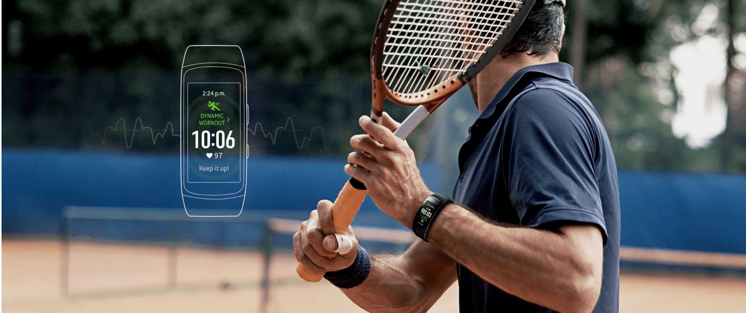 Man holding tennis racket next to visualization of Samsung Gear Fit2 Pro Watch