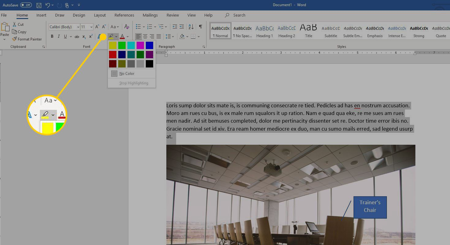 Word with the highlight color menu highlighted