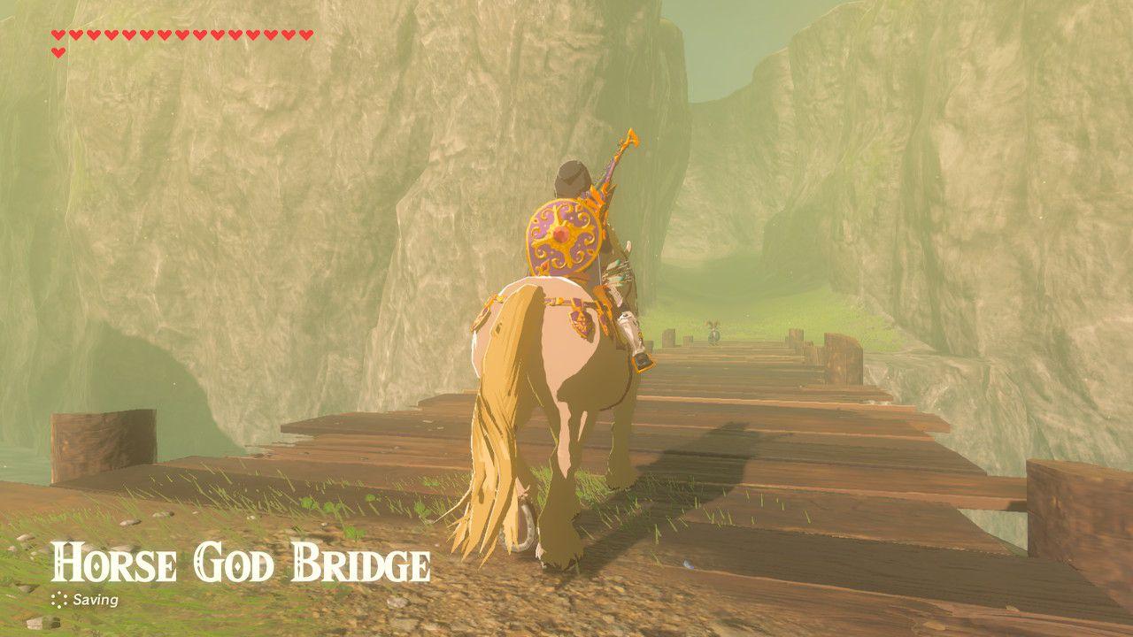 Crossing the Horse God Bridge in Zelda: Breath of the Wild.