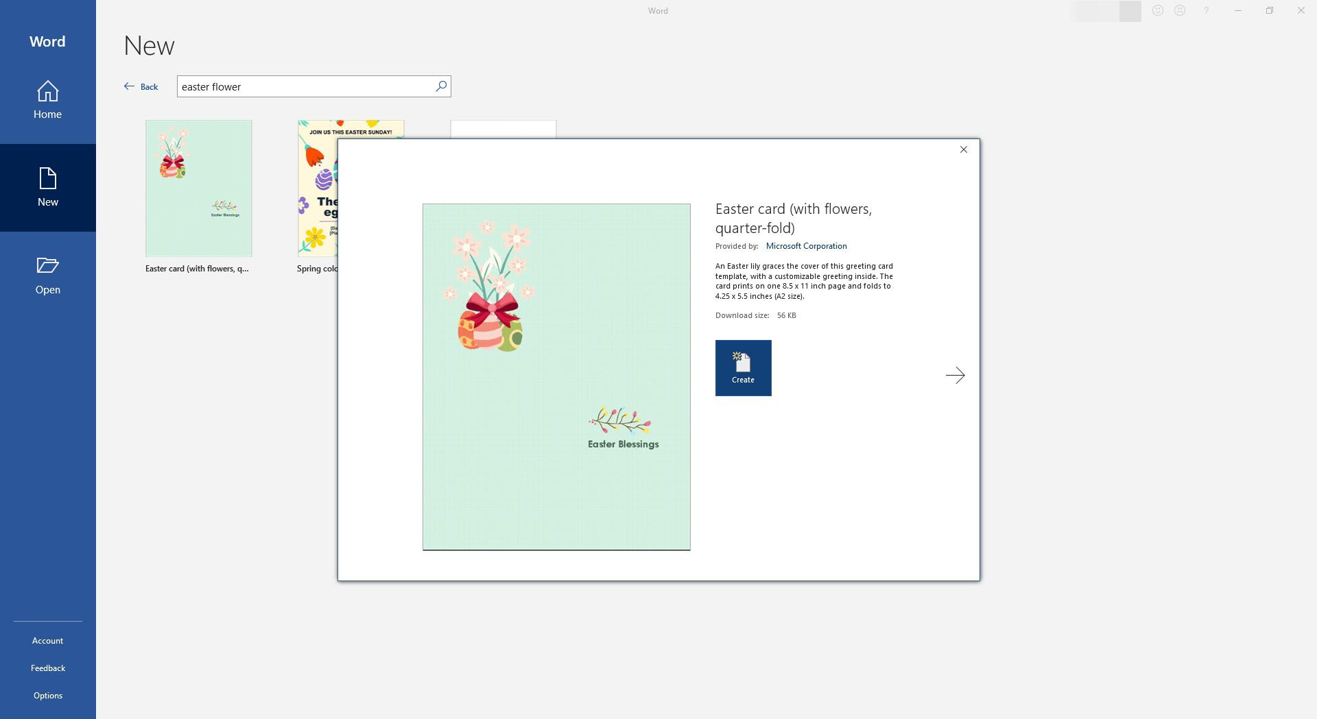 Easter Greeting Card Template for Microsoft Word