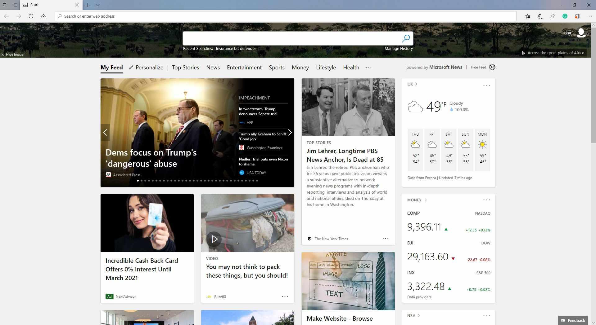 The Microsoft Edge homepage.