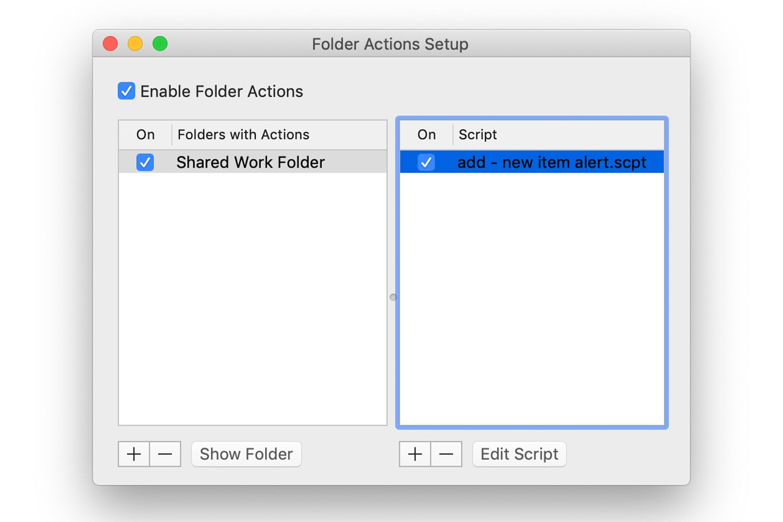 Folder Actions Setup window showing folders and scripts
