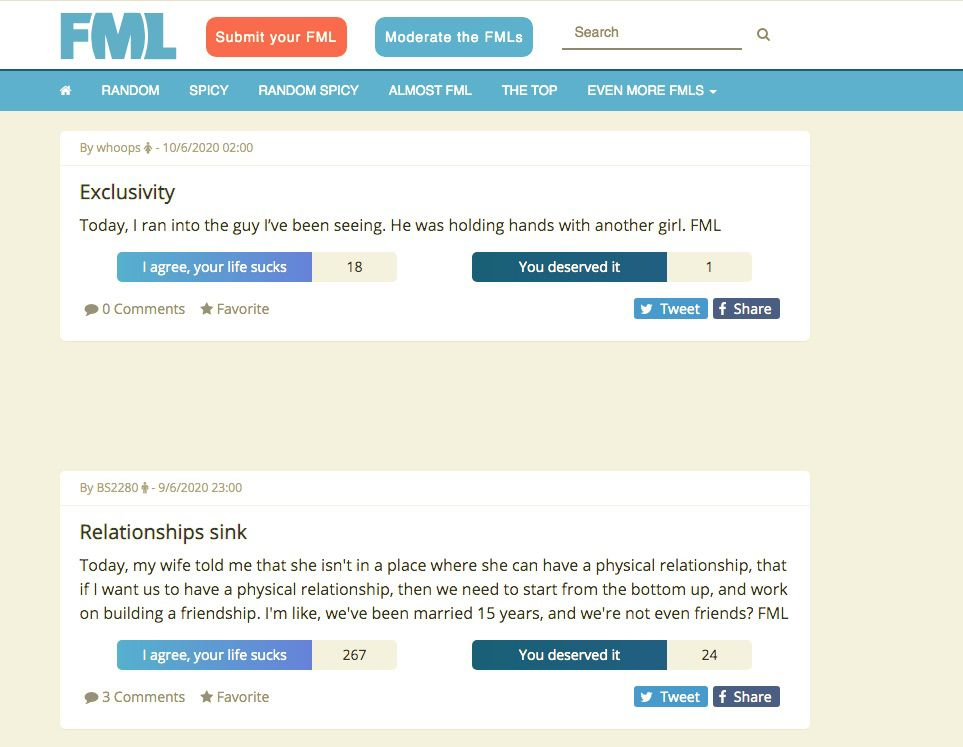 Post from FML website