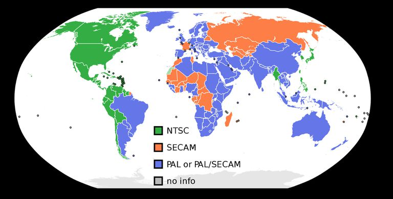 NTSC PAL SECAM map