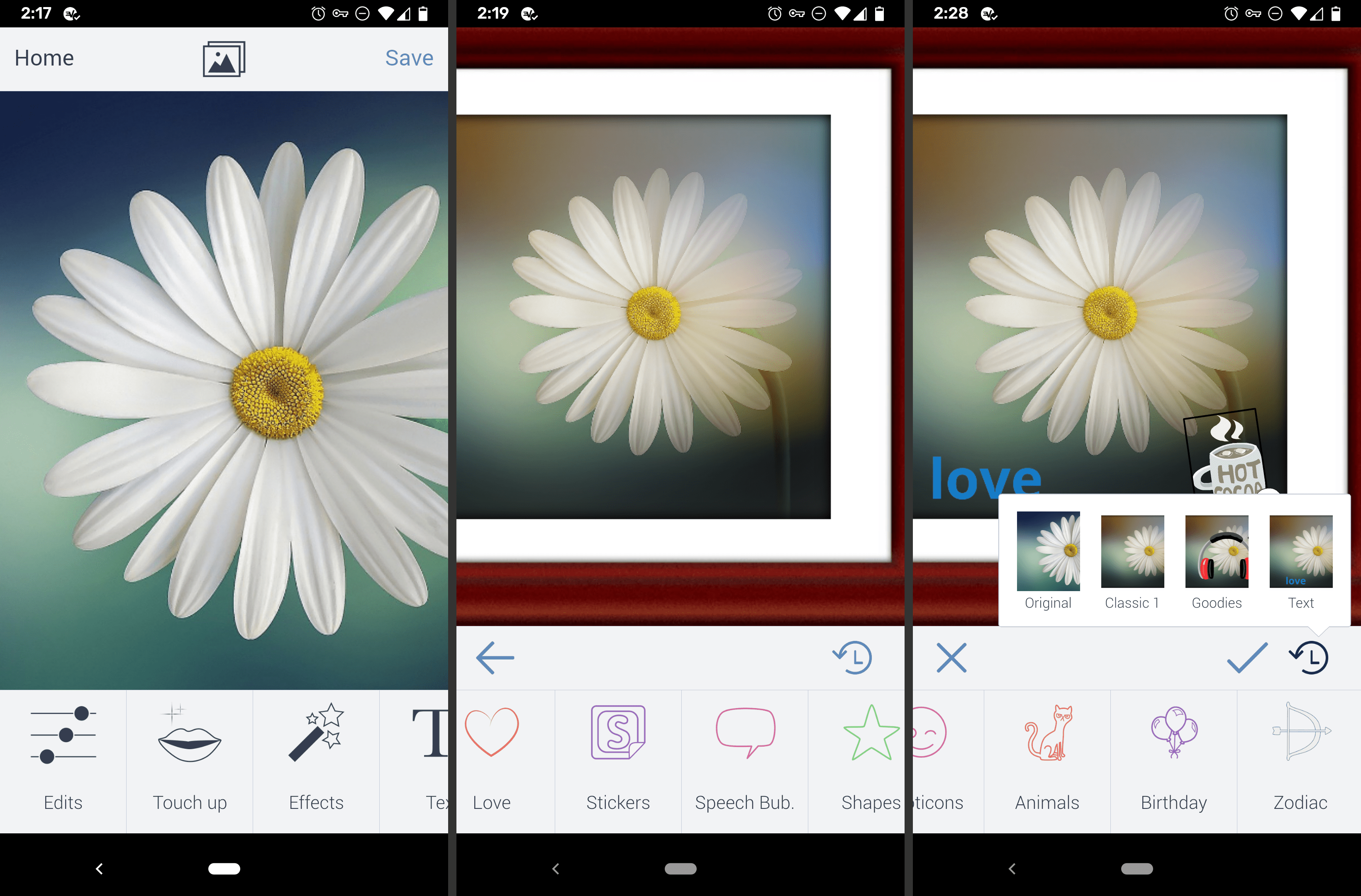Screenshot of the BeFunky Android image editor app