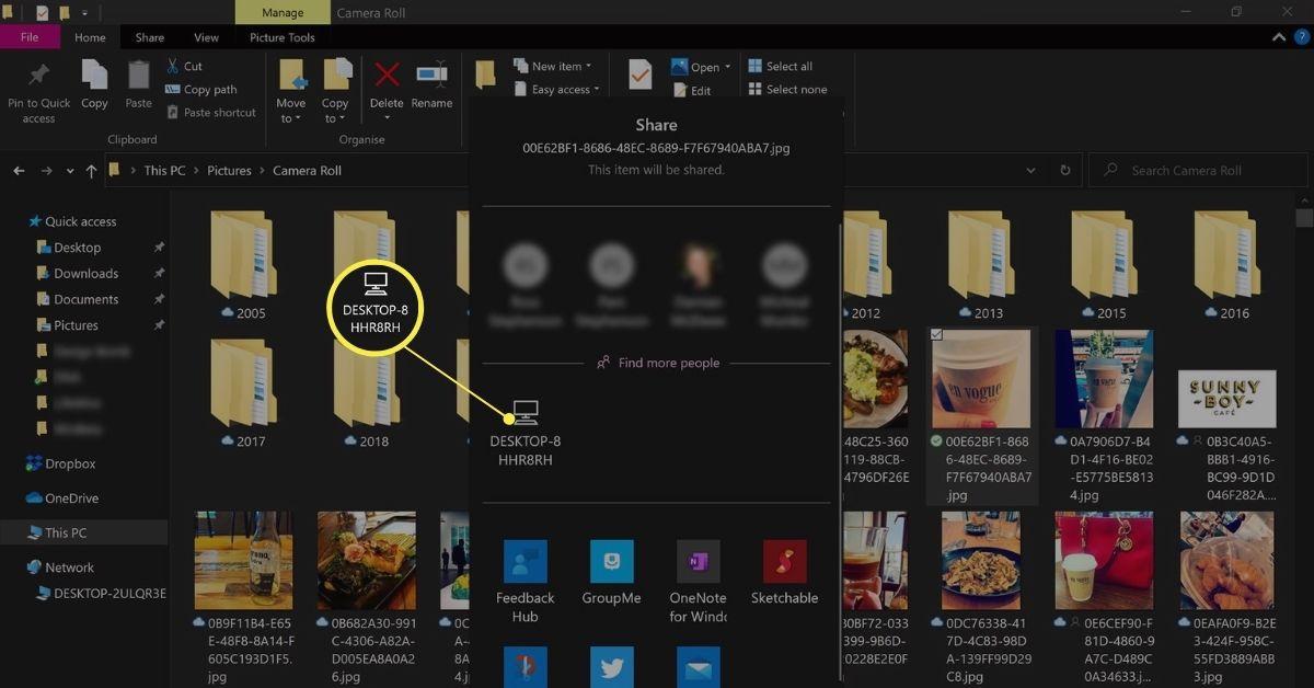 Windows 10 Nearby sharing option.