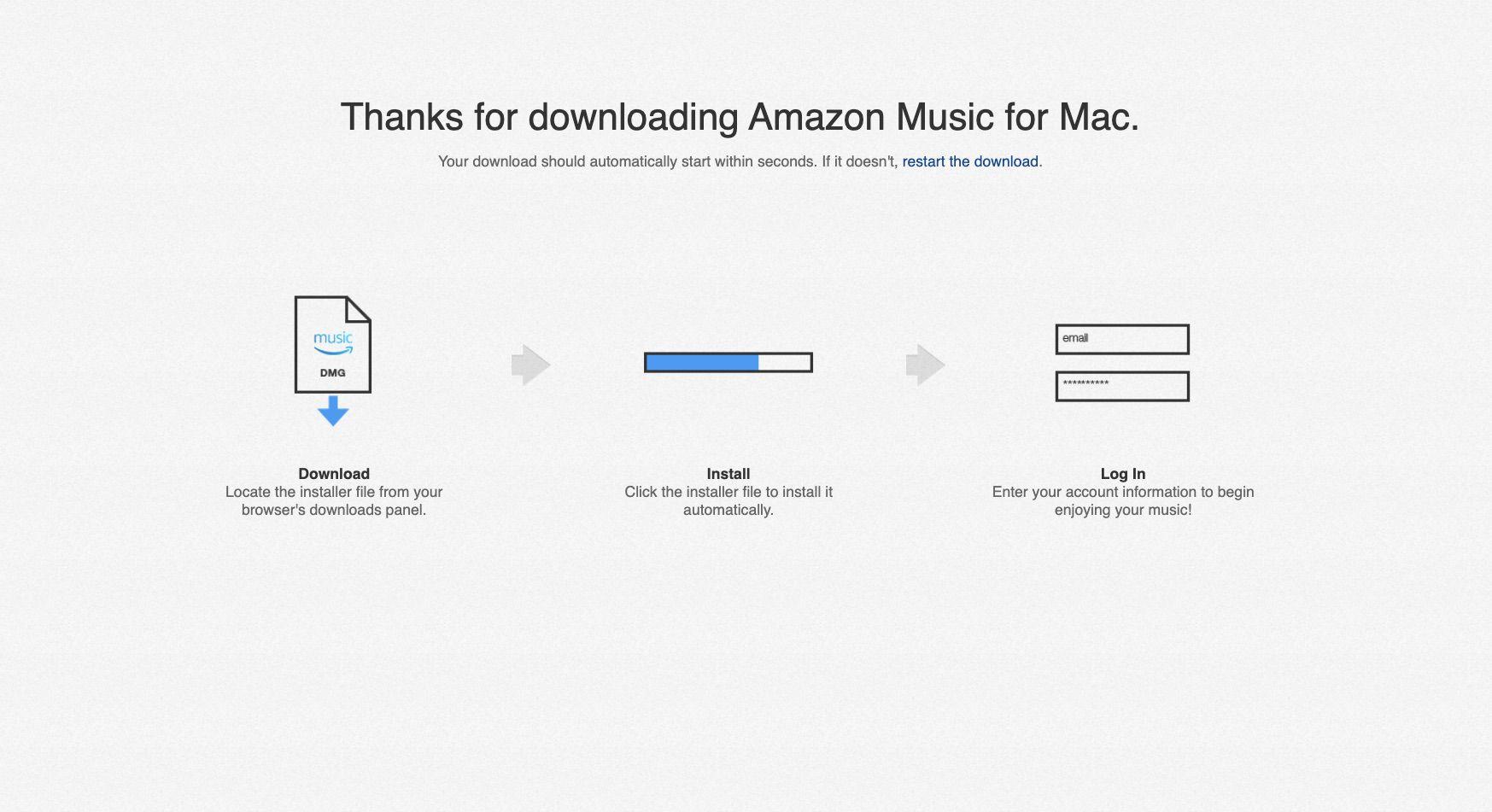Amazon Music web app download screen