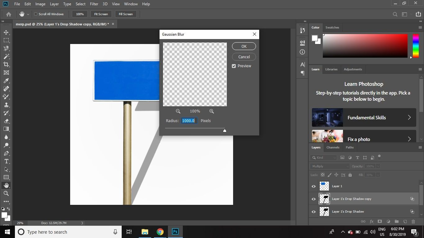 Move the slider to the right to blur the edges of the shadow, then select OK.
