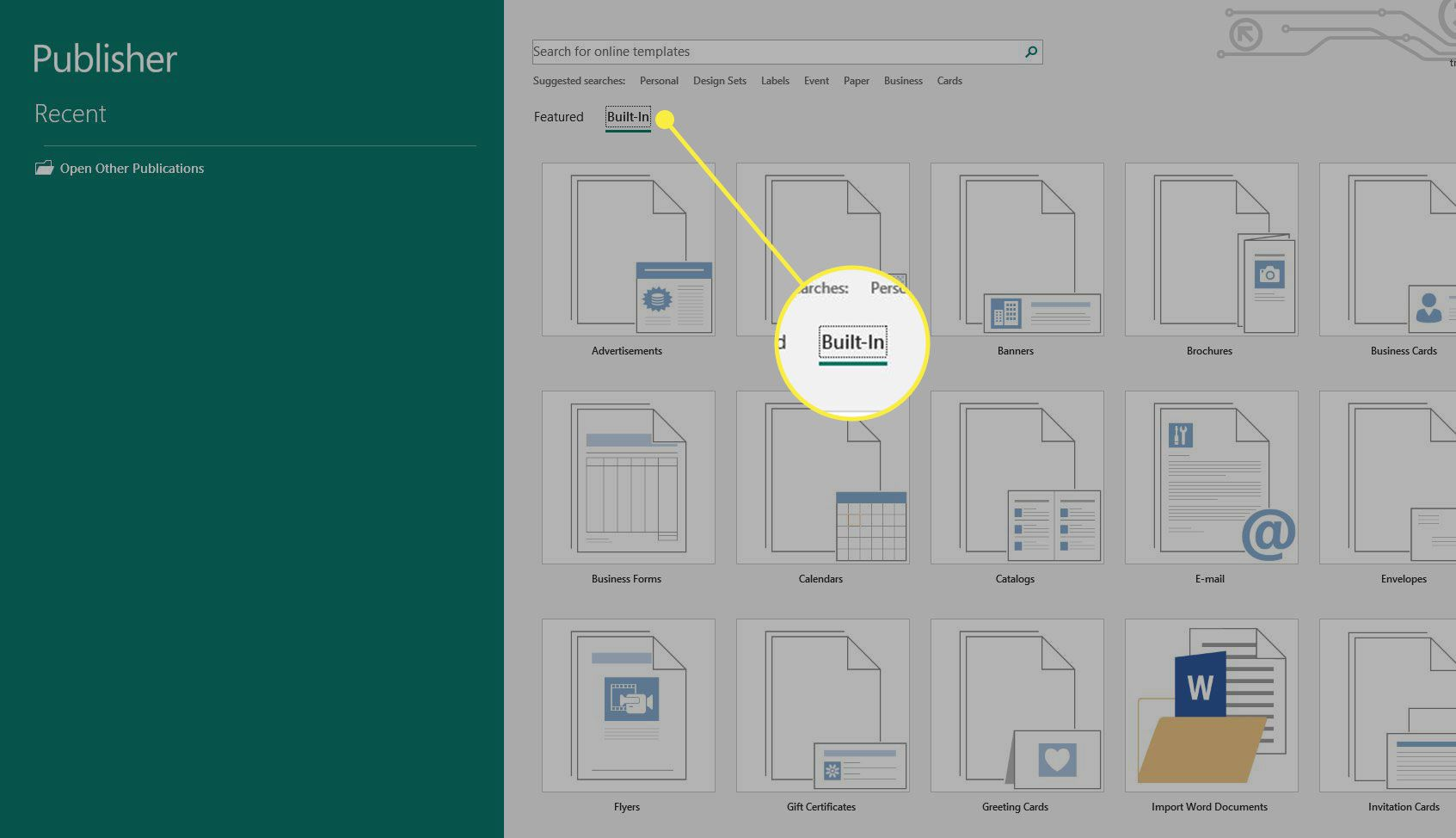 Screenshot of Microsoft Publisher with the Built-In header highlighted