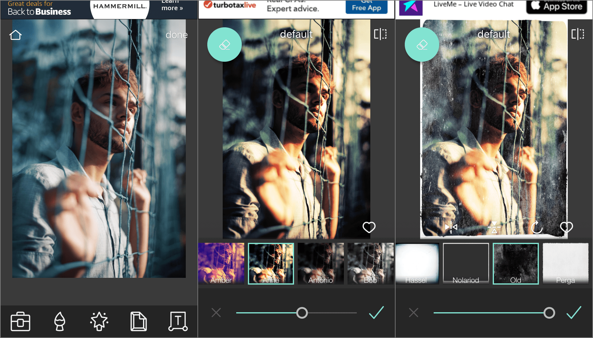 Screenshots of the Pixlr free image editor app on an iPhone