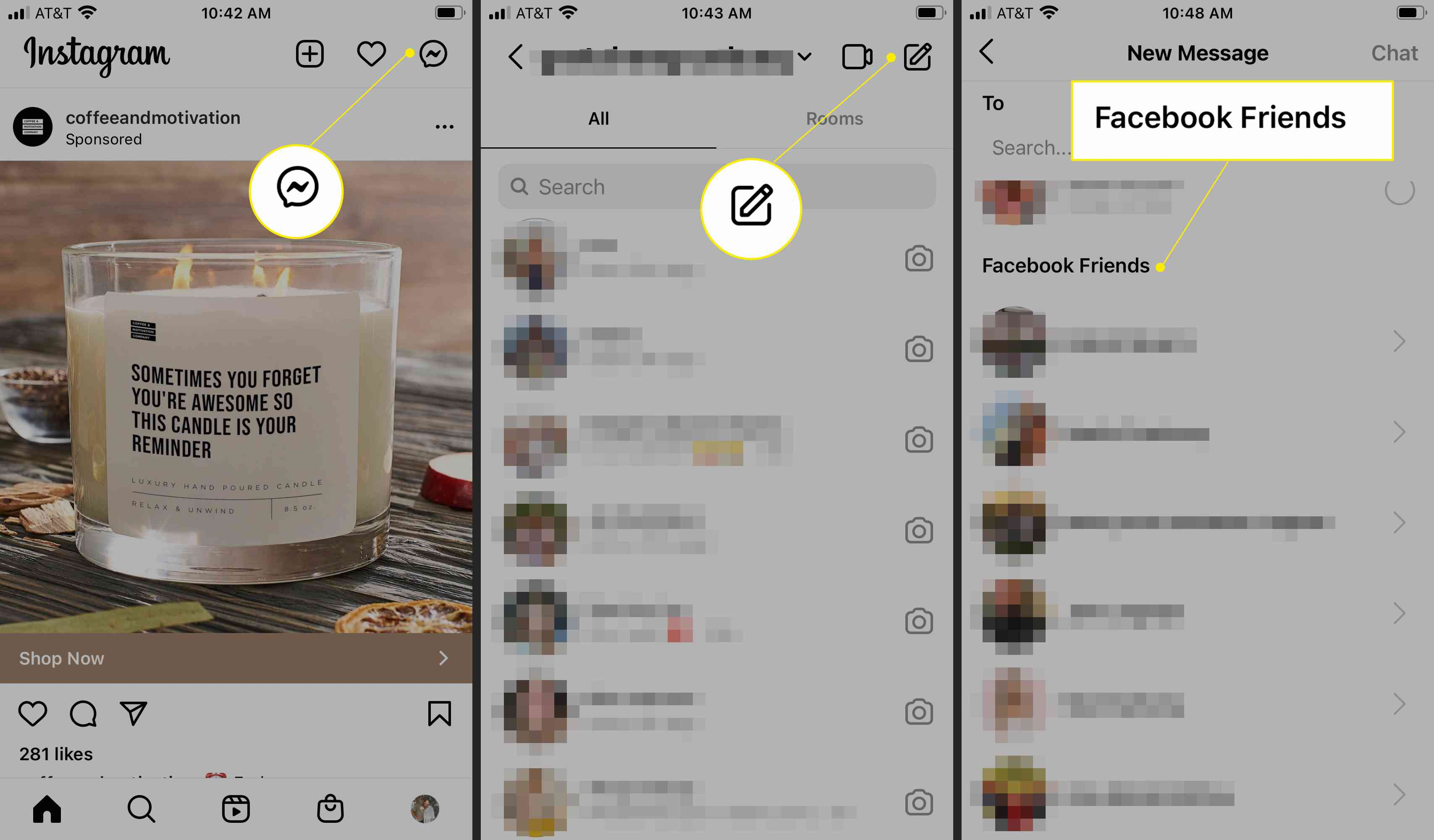 Instagram highlighting the Messenger icon, new message icon, and