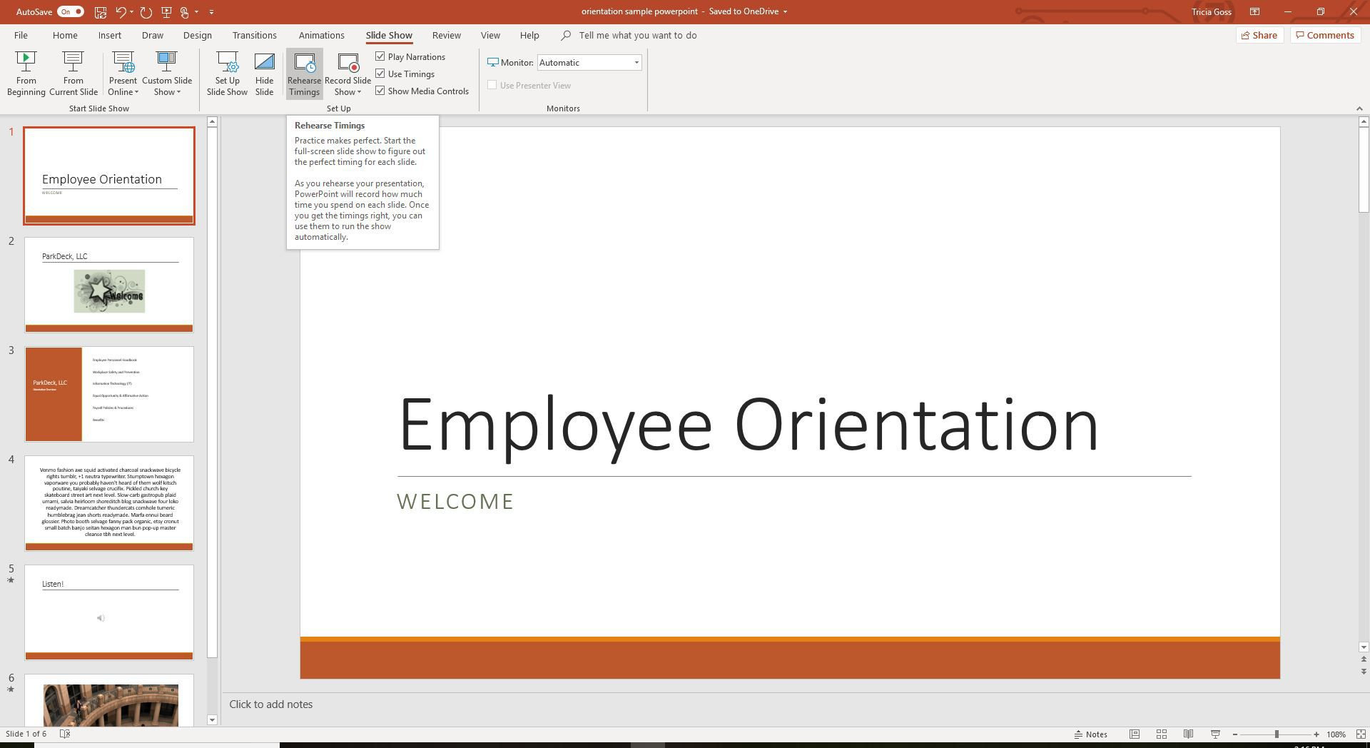 Rehearse timings in PowerPoint