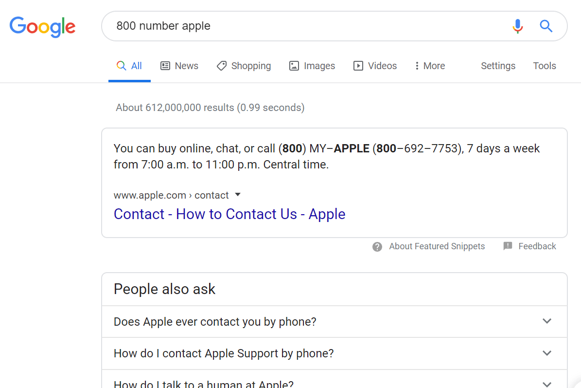 800 number for Apple Google search