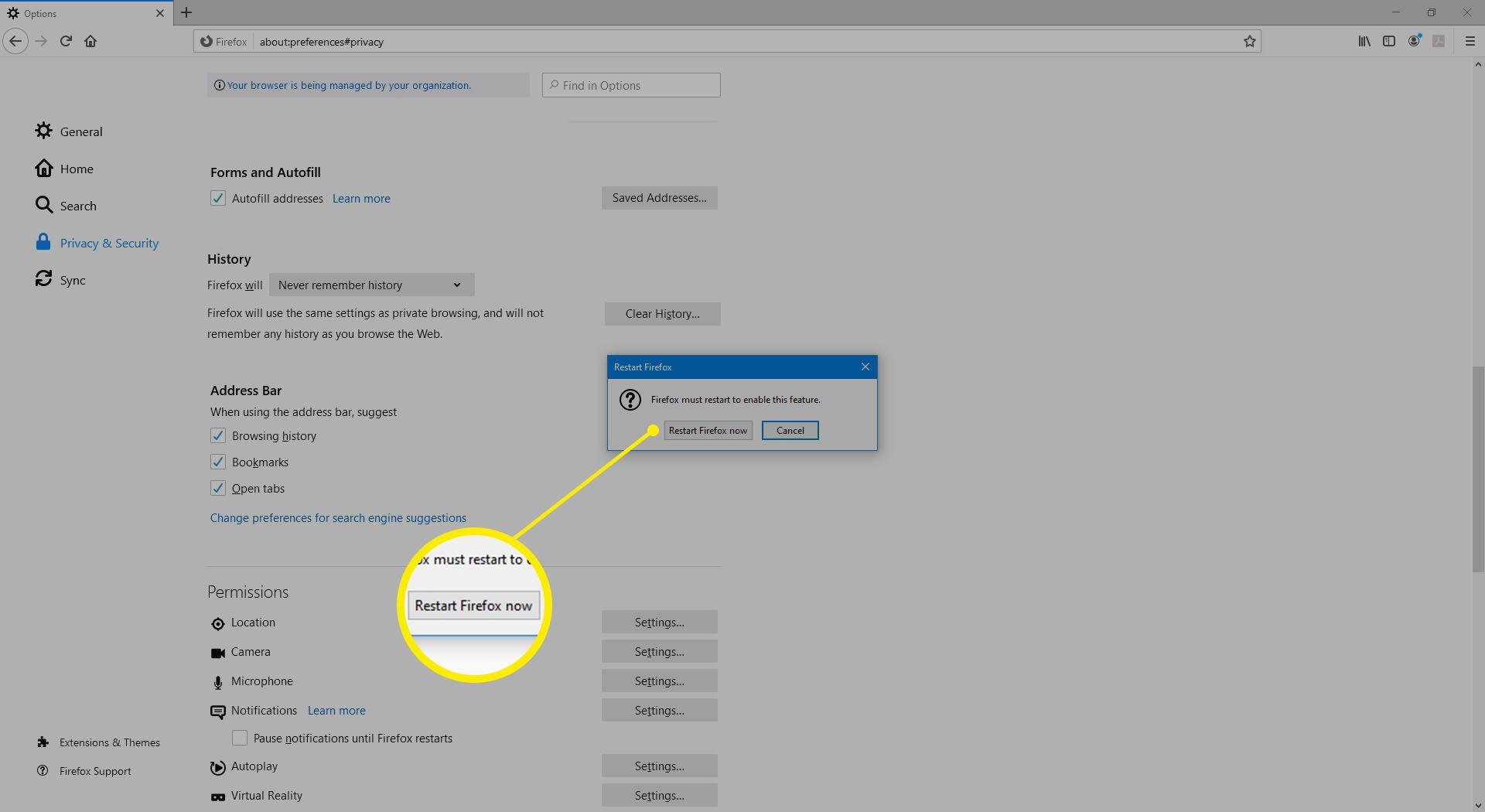 Restart Firefox dialog