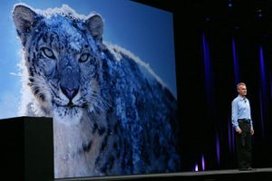 Apple Senior Vice President Bertrand Serlet delivers an address on the OSX Snow Leopard operating system.