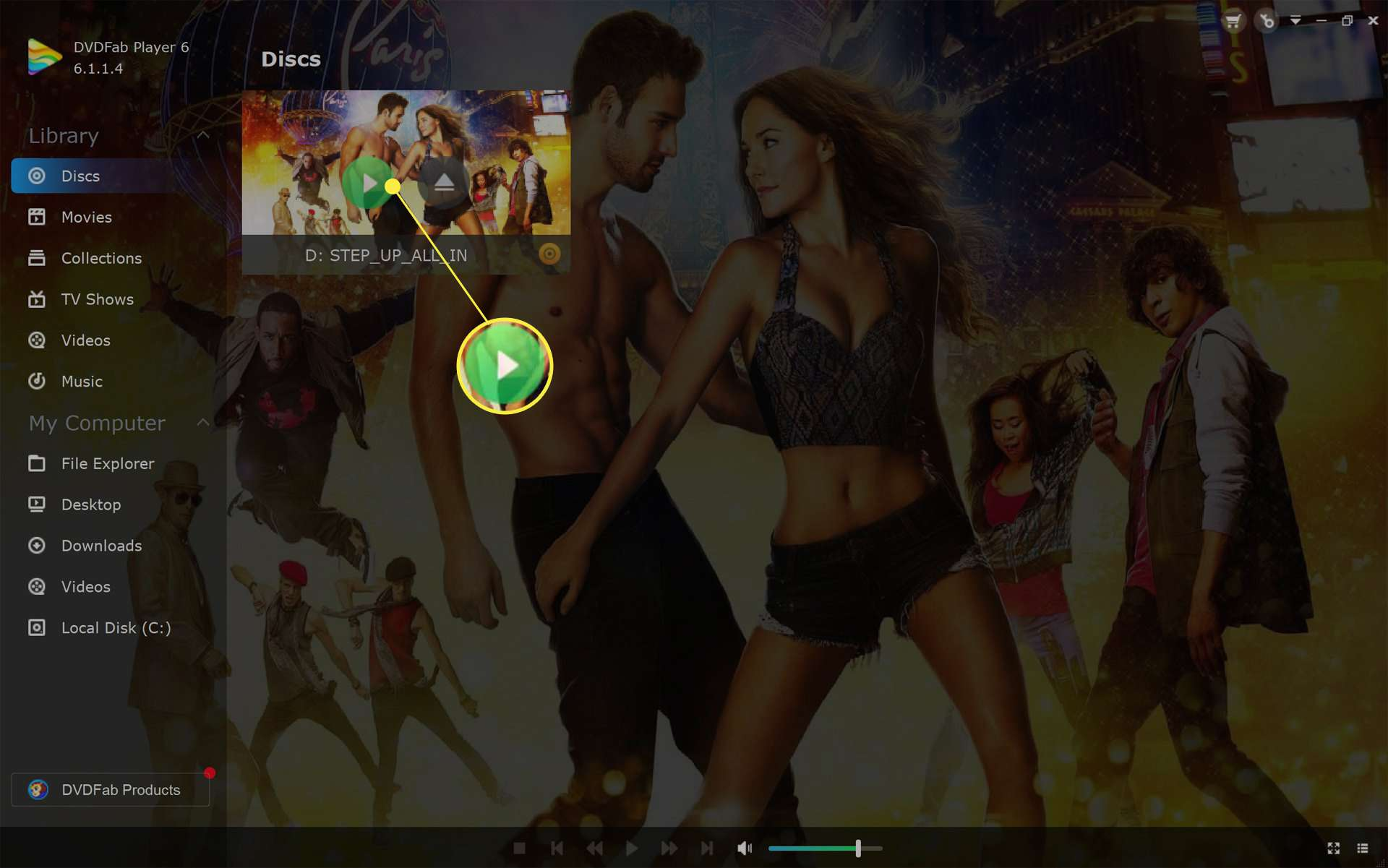 Step Up 5 movie Blu-ray in DVDFab Player app on Windows 11 with the Play button highlighted