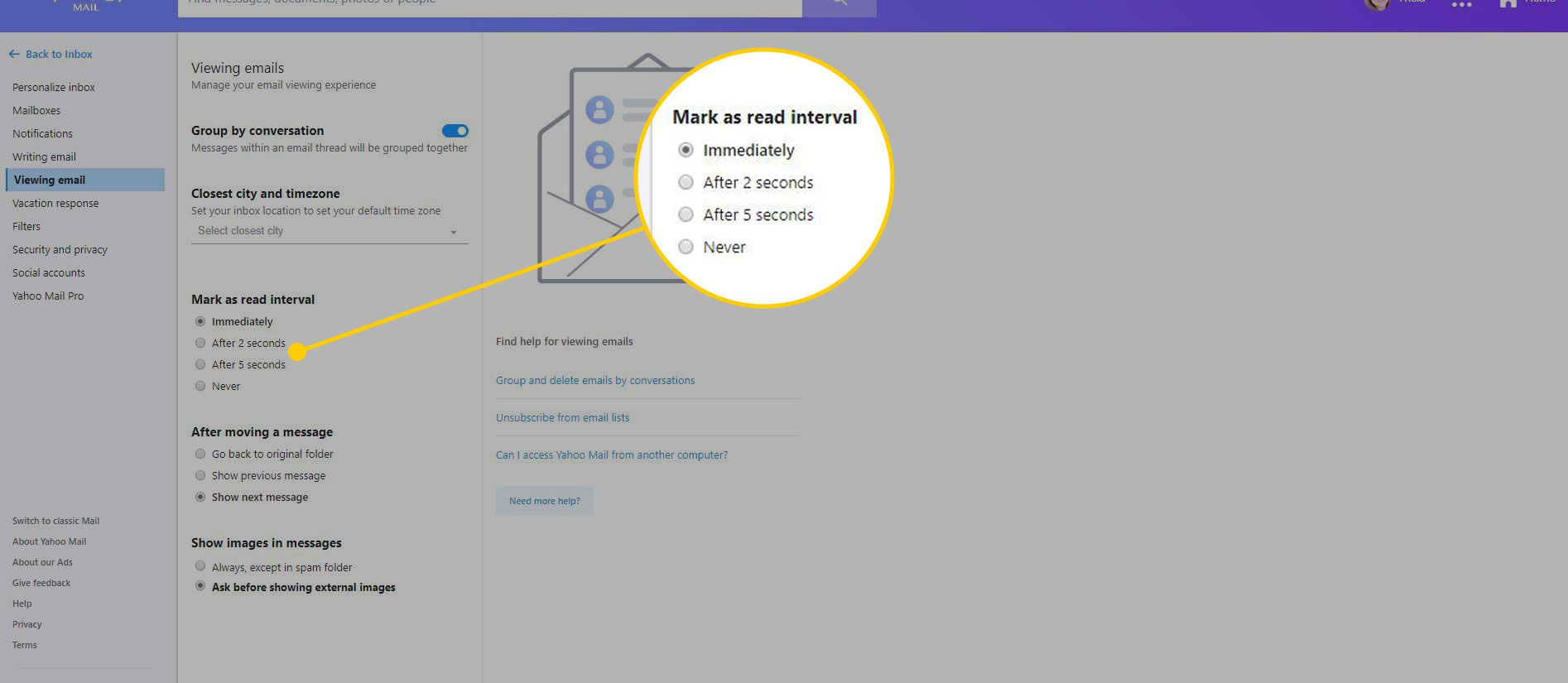 Yahoo Mail settings with the Mark as read interval options highlighted
