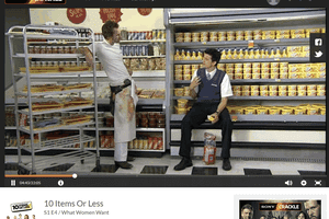 Screenshot of a free TV show on Sony Crackle called 10 Items or Less