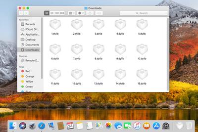 Screenshot of several DYLIB files in macOS High Sierra
