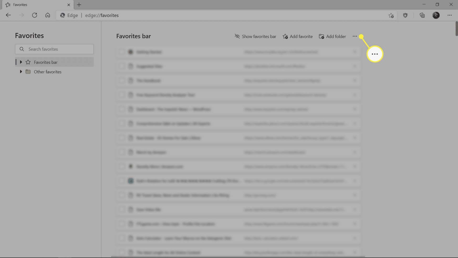 The Favorites Bar menu in Microsoft Edge.