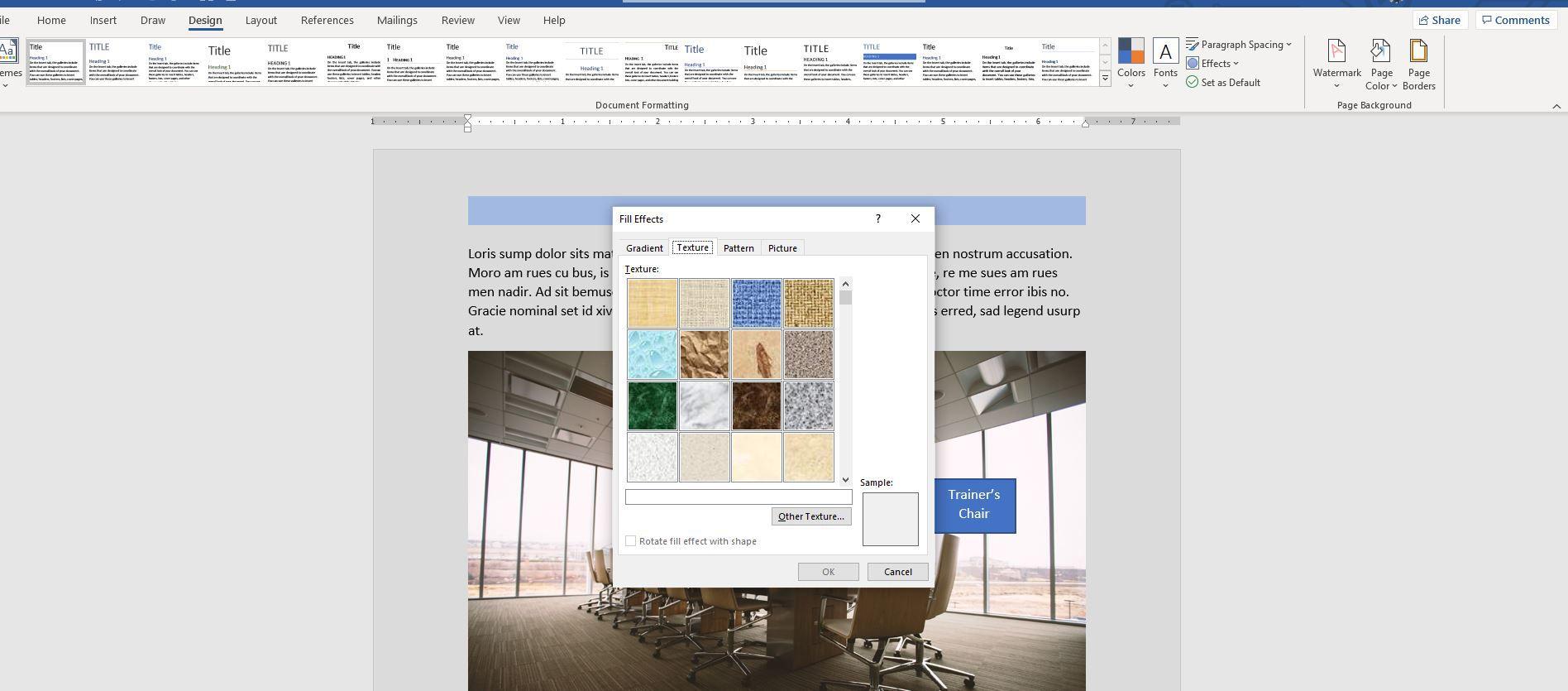 Fill Effects window in Word