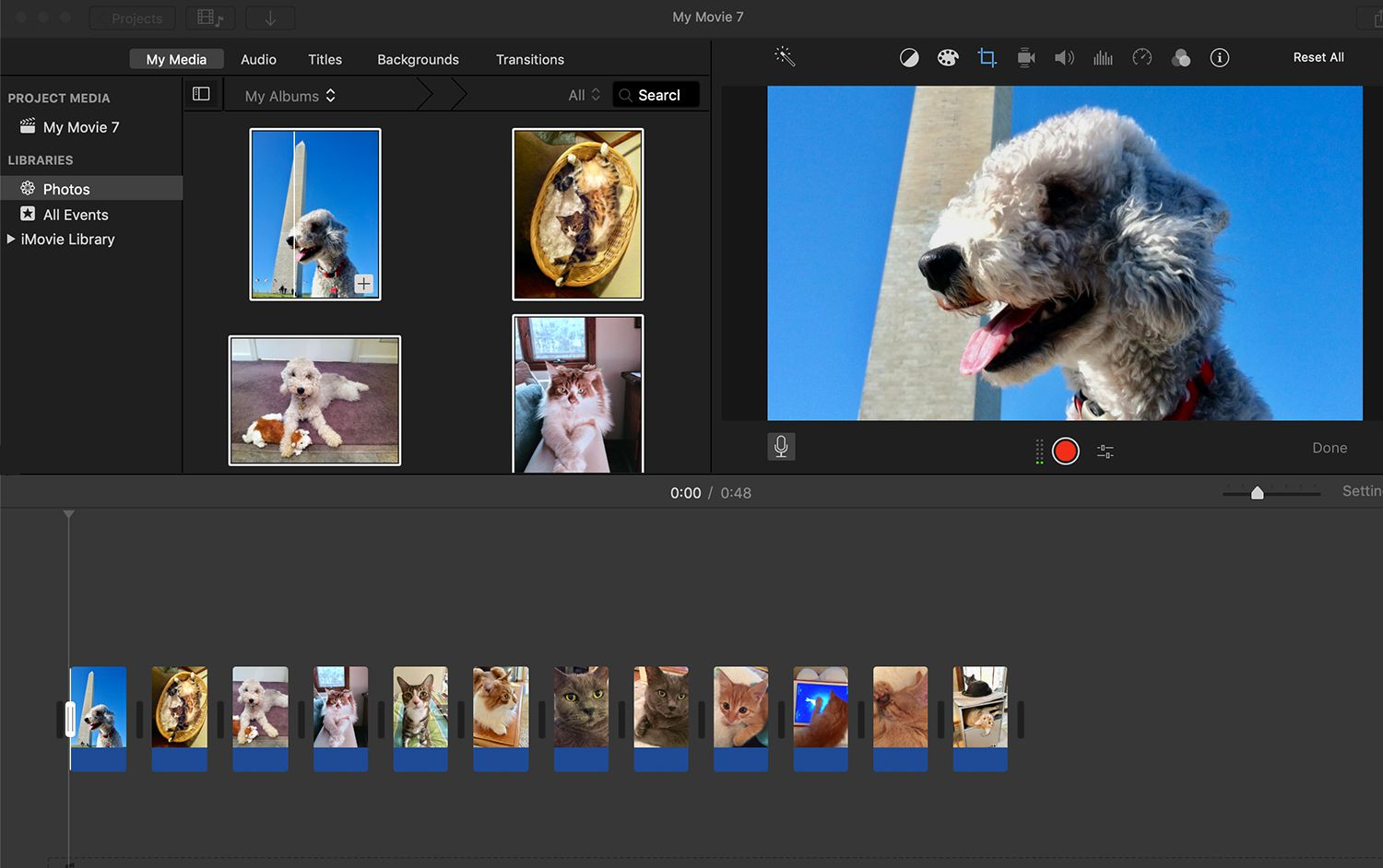 Adding images to the iMove timeline