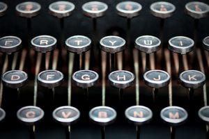 Keys on antique typewriter keyboard