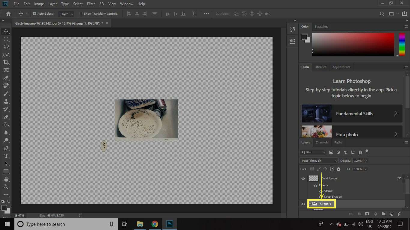 A screenshot of Photoshop with an arrow indicating dragging a layer group to the bottom of the stack