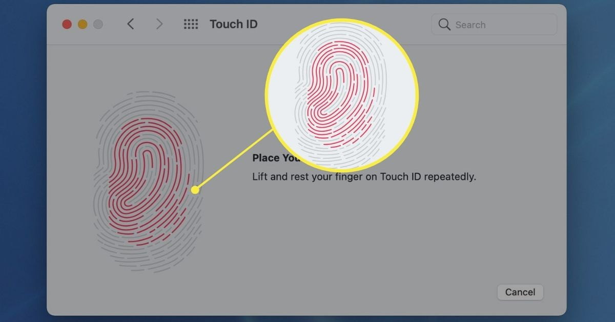 Fingerprint registration process in Touch ID settings