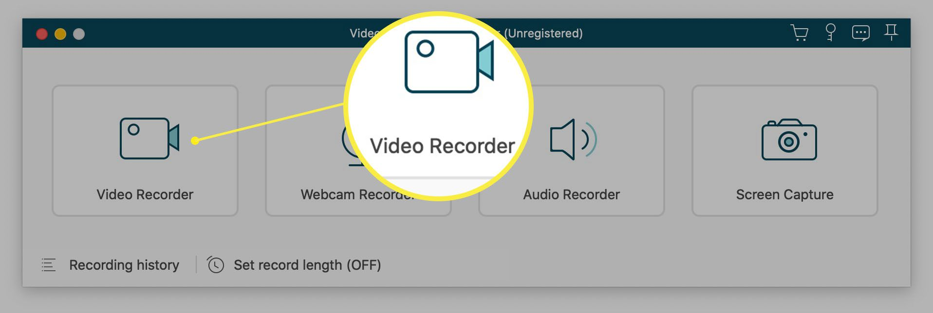 VideoSolo app with Video Recorder option highlighted
