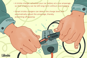 A trickle charger with text explaining what it is