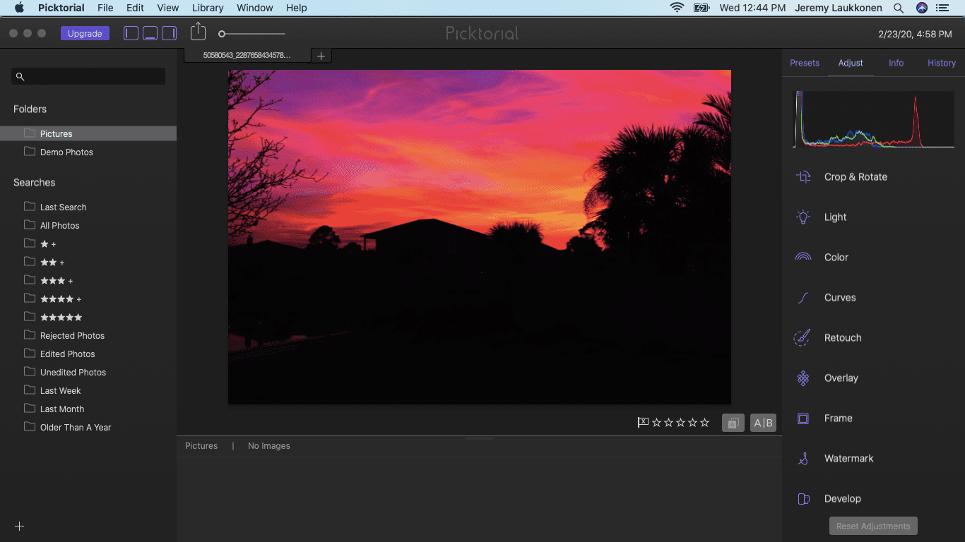 A screenshot of the macOS photo editing software Picktorial.
