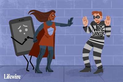 Illustration of a superhero protecting a smartphone from a