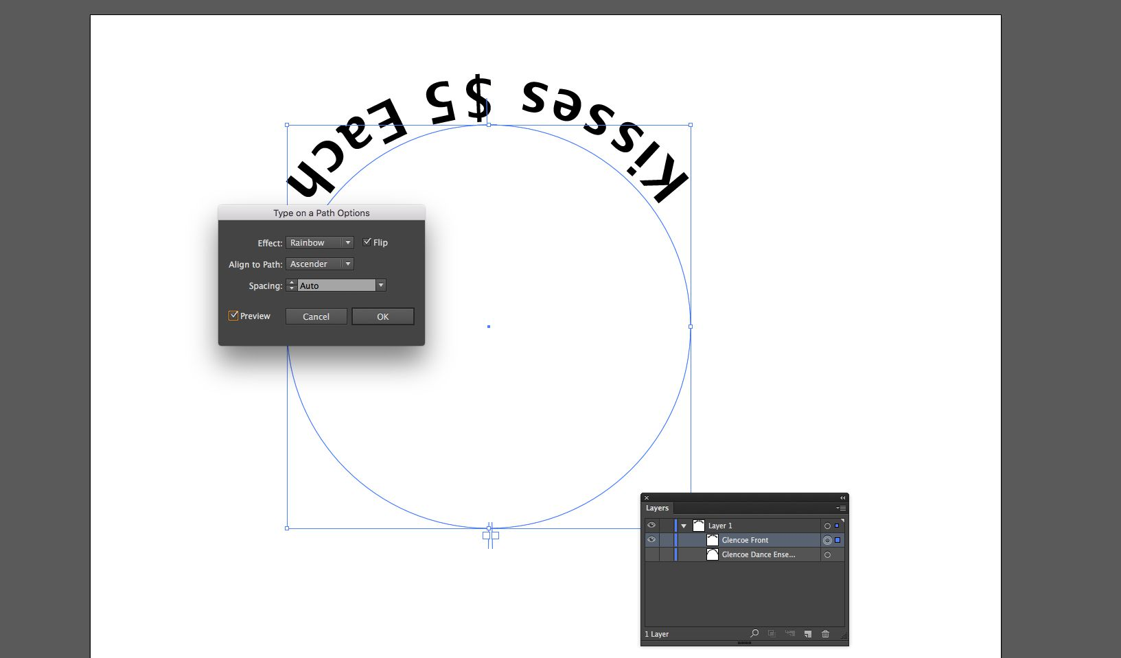 Use Type on a Path in Illustrator for Text in a Circle