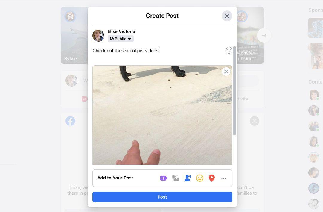 A screenshot of Facebook.com.