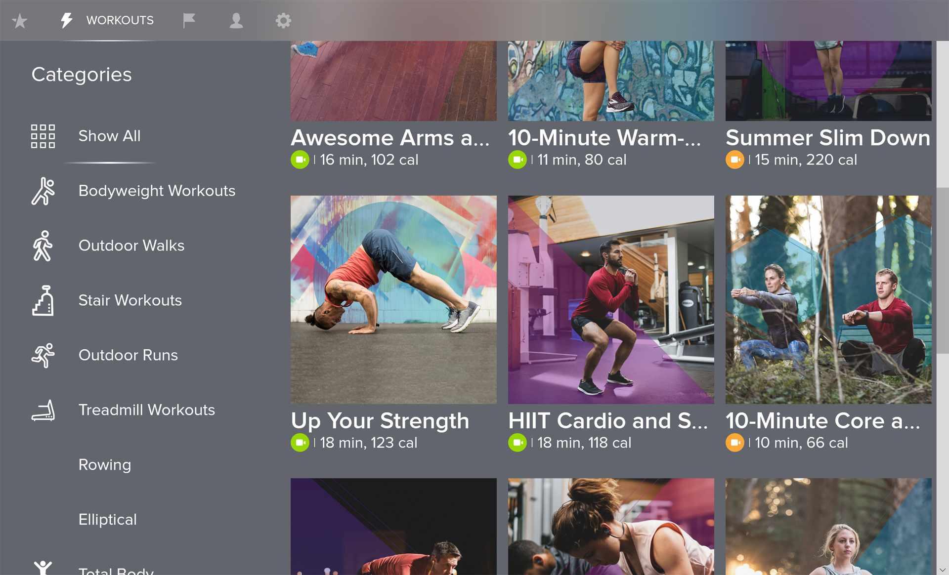 Windows 10 Fitbit Coach app.