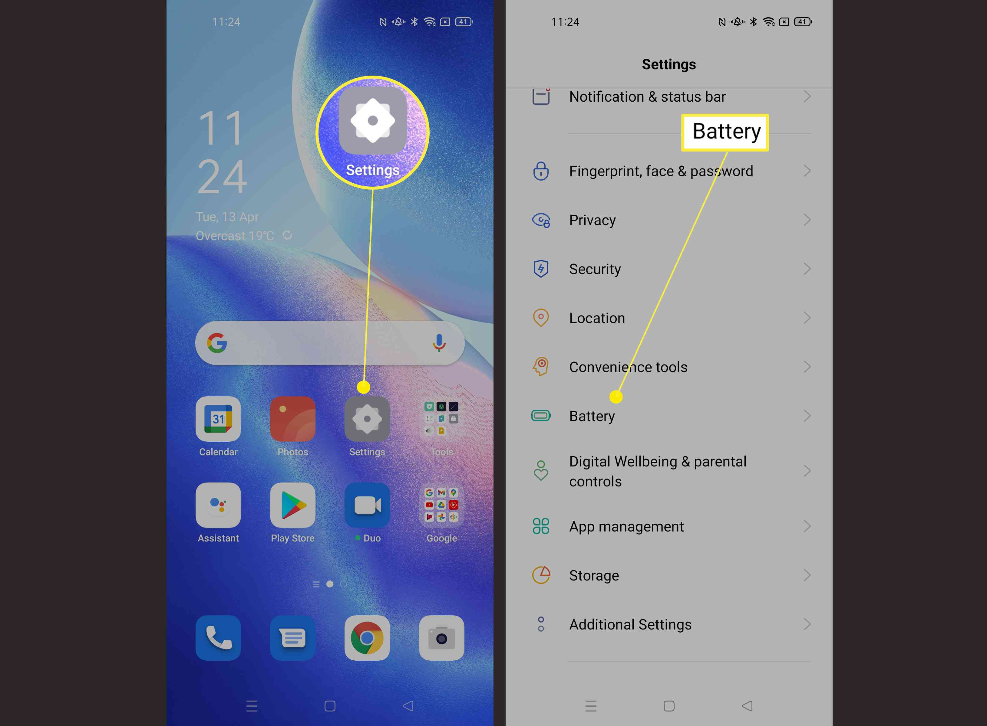 Steps required to find Battery Settings on Android