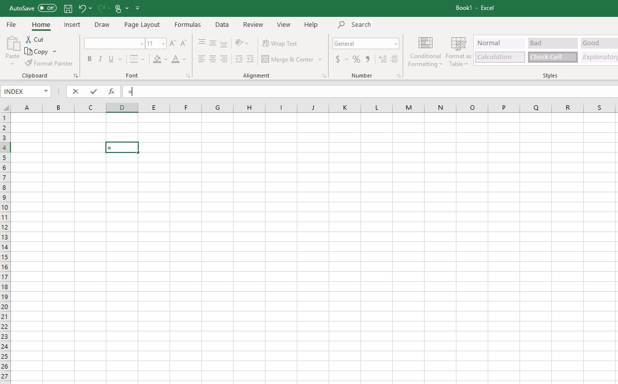 Equal sign in Excel cell