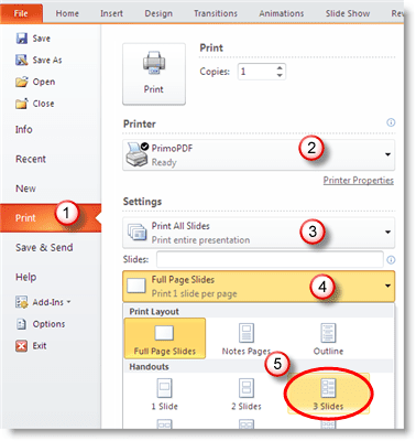 print a powerpoint handout in pdf format without a date